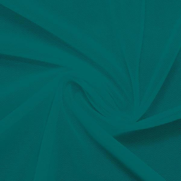 A swirled piece of nylon spandex power mesh in the color ocean.