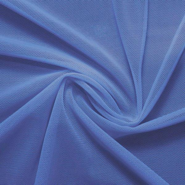 A swirled piece of nylon spandex power mesh in the color oceanside.
