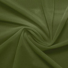 A swirled piece of nylon spandex power mesh in the color olive.