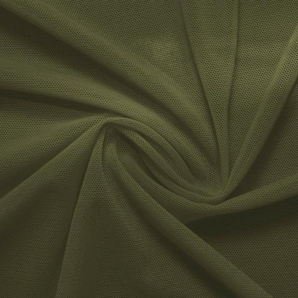 A swirled piece of nylon spandex power mesh in the color olive green.