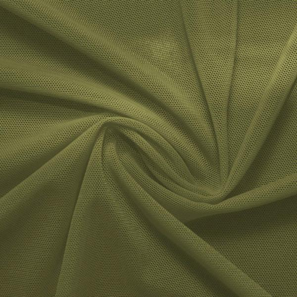 A swirled piece of nylon spandex power mesh in the color olive twist.