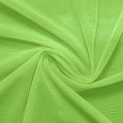 A swirled piece of nylon spandex power mesh in the color pear.