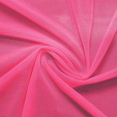 A swirled piece of nylon spandex power mesh in the color pink panther.