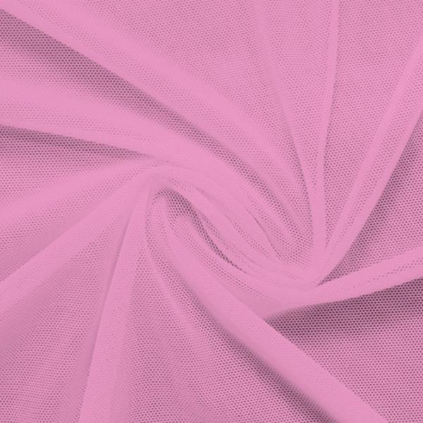 A swirled piece of nylon spandex power mesh in the color pink sorbet.