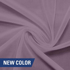 A swirled piece of nylon spandex power mesh in the color plush.