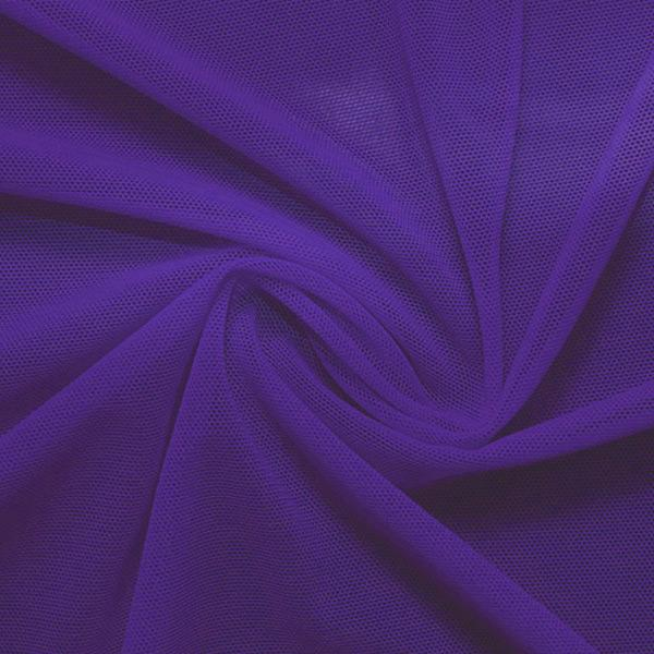 A swirled piece of nylon spandex power mesh in the color dark purple.