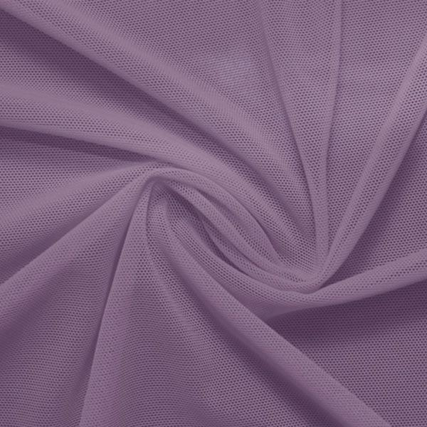 A swirled piece of nylon spandex power mesh in the color purple haze.