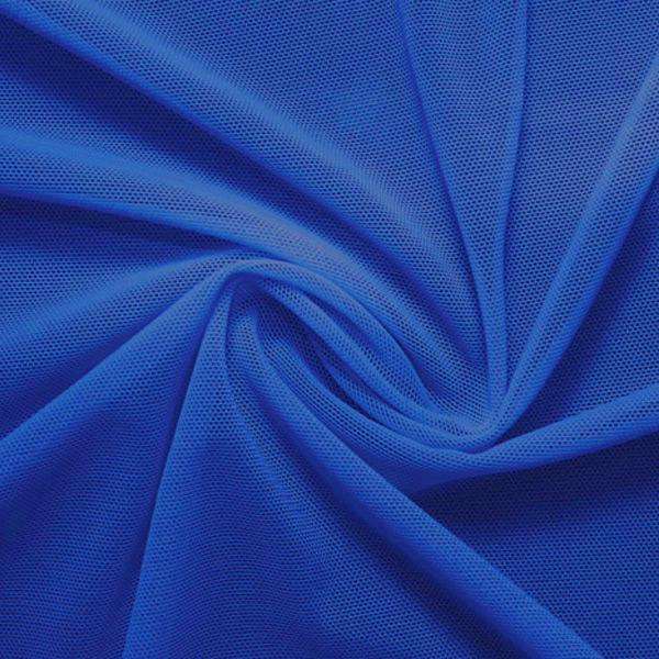 A swirled piece of nylon spandex power mesh in the color real royal.