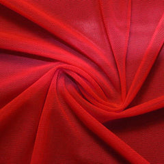 A swirled piece of nylon spandex power mesh in the color red.
