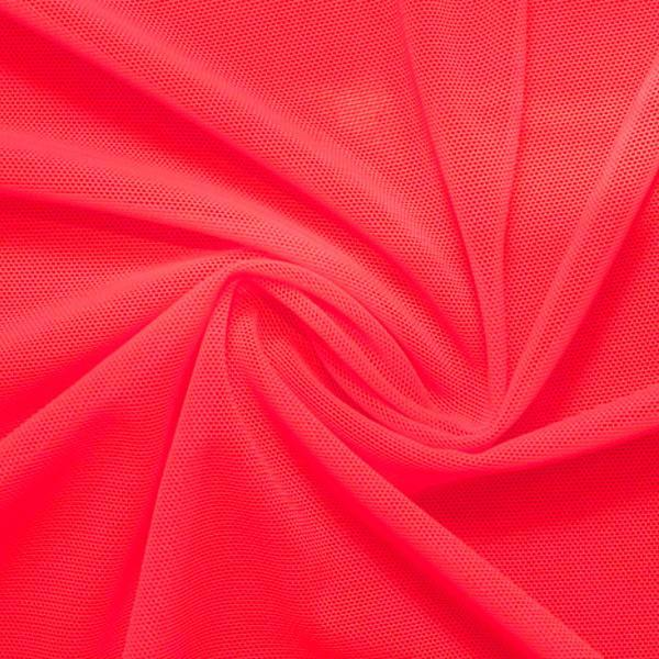 A swirled piece of nylon spandex power mesh in the color rose.