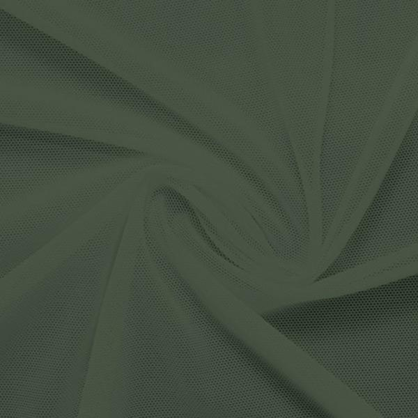 A swirled piece of nylon spandex power mesh in the color sage.