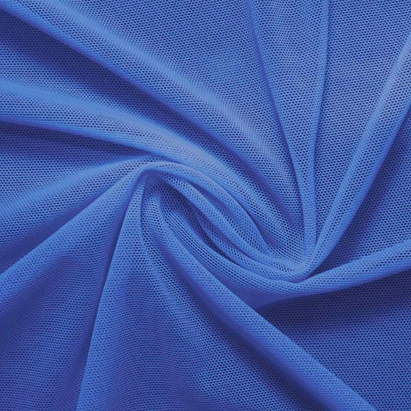 A swirled piece of nylon spandex power mesh in the color sedona blue.