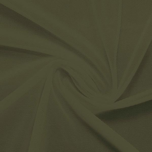A swirled piece of nylon spandex power mesh in the color sepia.