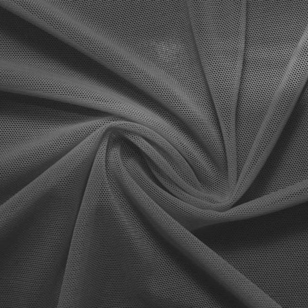 A swirled piece of nylon spandex power mesh in the color slate gray.
