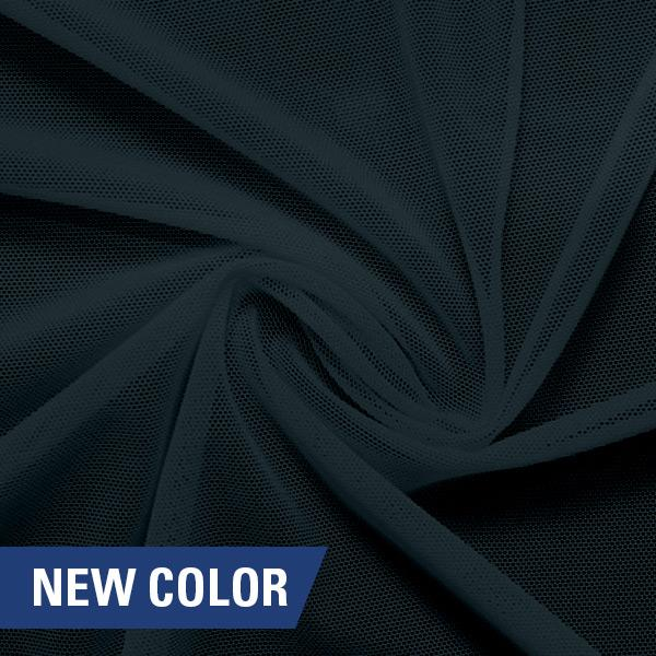 A swirled piece of nylon spandex power mesh in the color symphony.