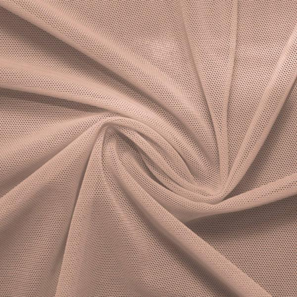 A swirled piece of nylon spandex power mesh in the color taupe.