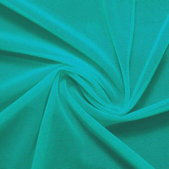 A swirled piece of nylon spandex power mesh in the color teal.