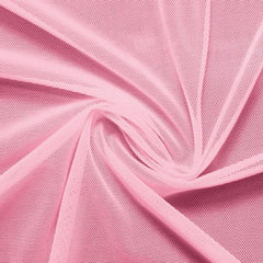A swirled piece of nylon spandex power mesh in the color venus pink.
