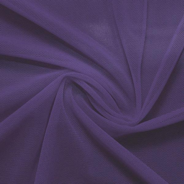 A swirled piece of nylon spandex power mesh in the color violet.