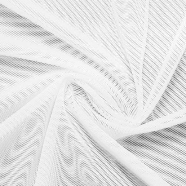 A swirled piece of nylon spandex power mesh in the color white.