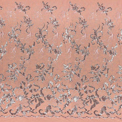 A panel of Renaissance, an embroidered design of leaves and vines with coral sequin on a coral stretch mesh base.