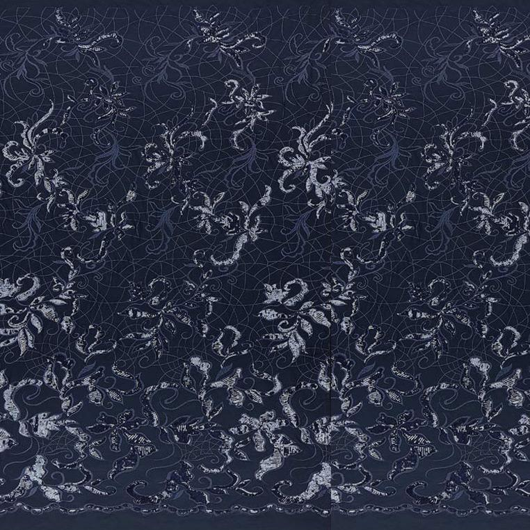 A panel of Renaissance, an embroidered design of leaves and vines with navy sequin on a navy stretch mesh base.