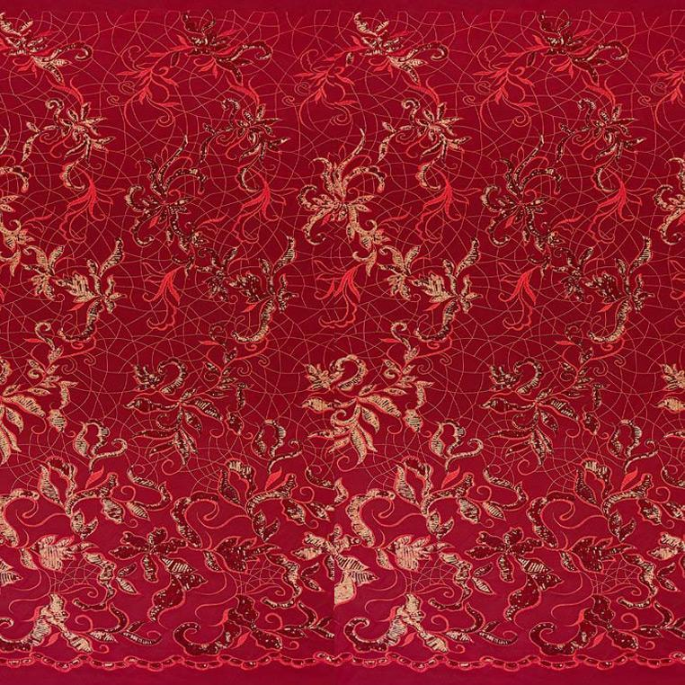 A panel of Renaissance, an embroidered design of leaves and vines with red sequin on a red stretch mesh base.