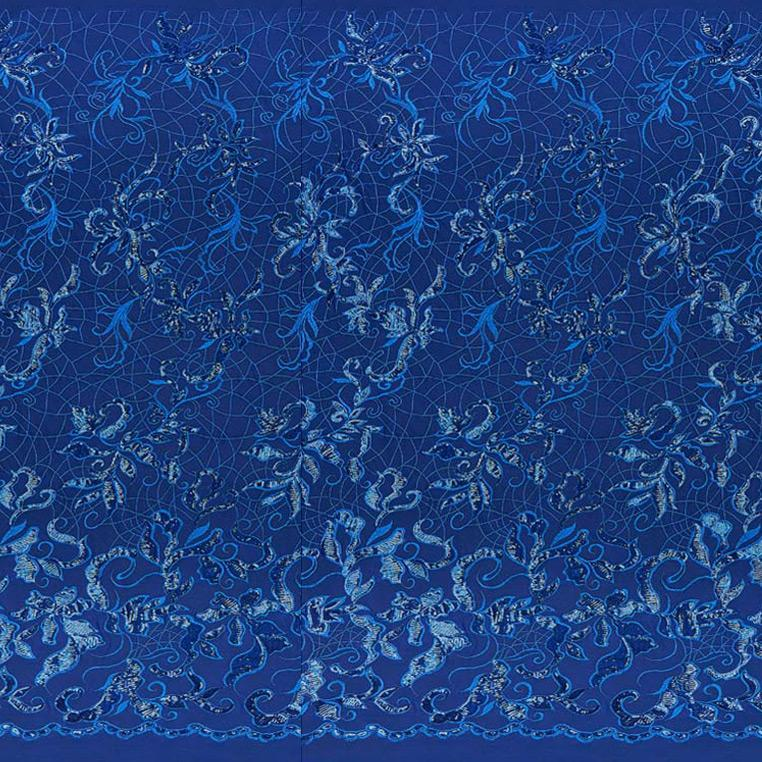 A panel of Renaissance, an embroidered design of leaves and vines with royal sequin on a royal stretch mesh base.