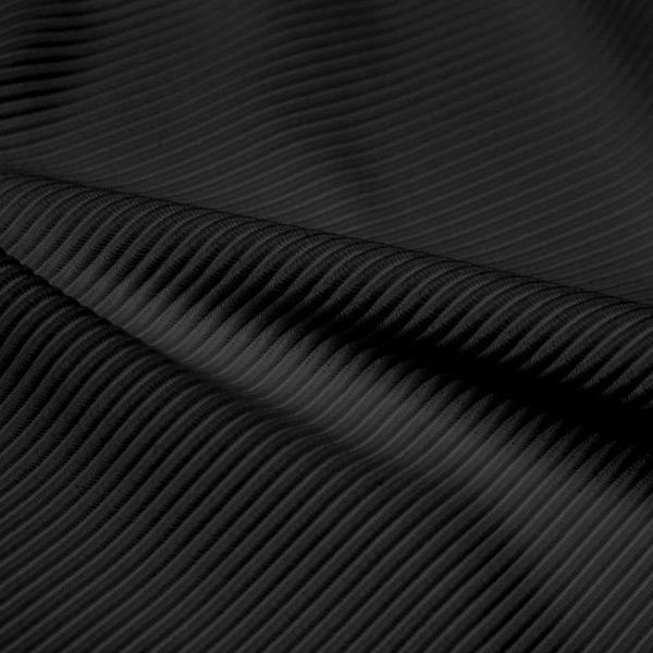 A rippled piece of Ribbed Spandex in the color black.