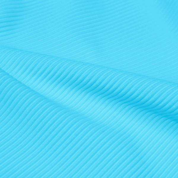A rippled piece of Ribbed Spandex in the color cyan.