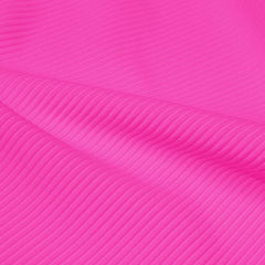 A rippled piece of Ribbed Spandex in the color famous.