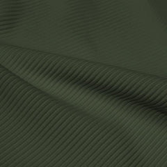 A rippled piece of Ribbed Spandex in the color olive green.