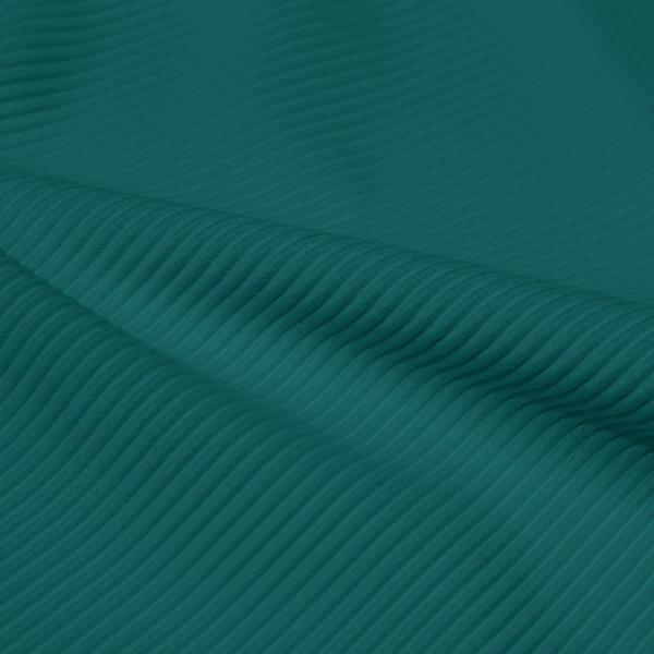 A rippled piece of Ribbed Spandex in the color teal green.