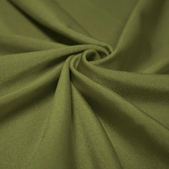 A swirled piece of shiny nylon spandex in olive.