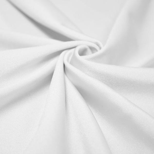 A swirled piece of shiny nylon spandex in white.