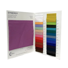 The inside spread of the color card for Synergy Polyester Lycra.