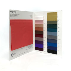 The inside spread of the color card for Viper Wet Look Spandex.
