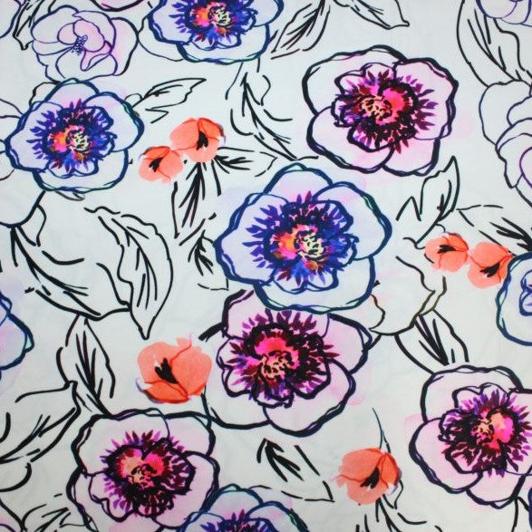 A flat sample of watercolor poppies printed spandex.