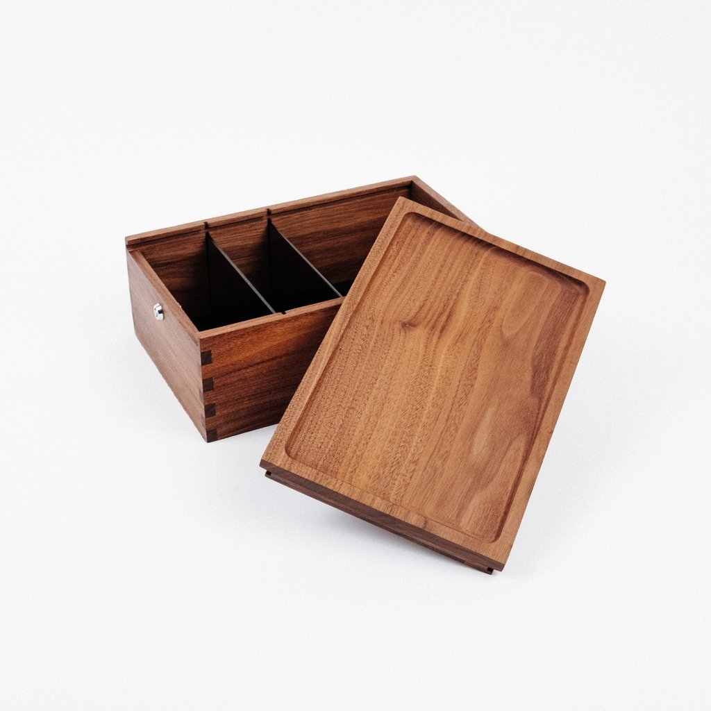 Marley Natural Storage Black Walnut Lock Box