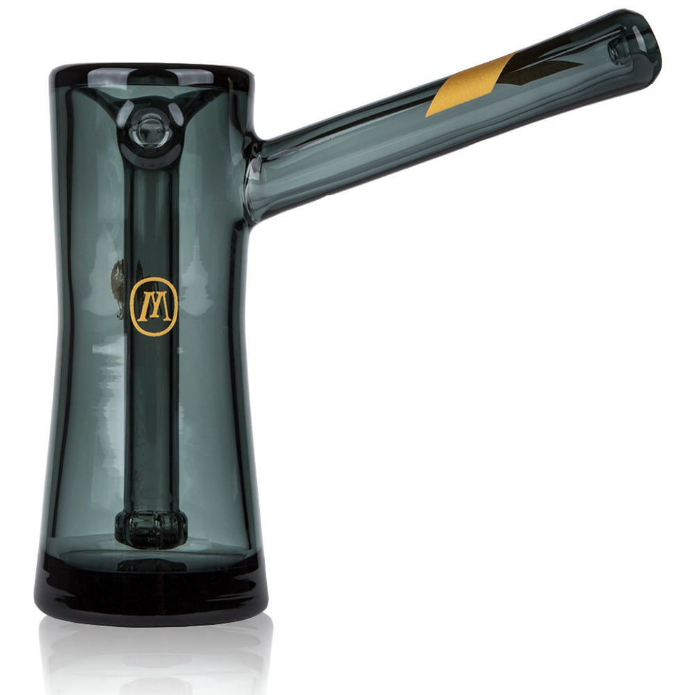 Marley Natural SMOKED GLASS BUBBLER with Gold Stripe Detail - BHANGO HEAD SHOP - Premium Glass, Vape and Cannabis Accessories