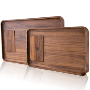 Marley Natural Black Walnut Rolling tray with Scraper