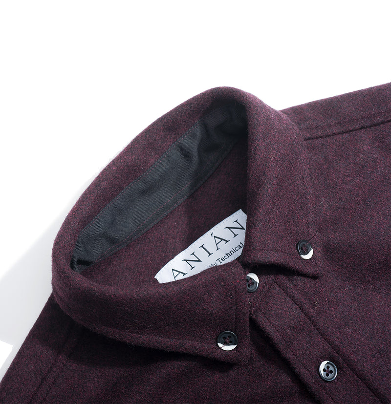 Men's Burgundy 14oz Modern Melton Wool Shirt
