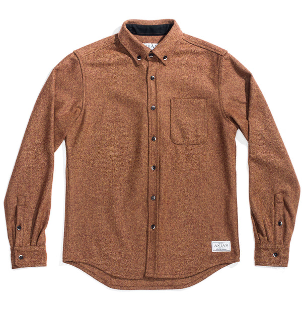 Men's Burnt 14oz Modern Melton Wool Shirt
