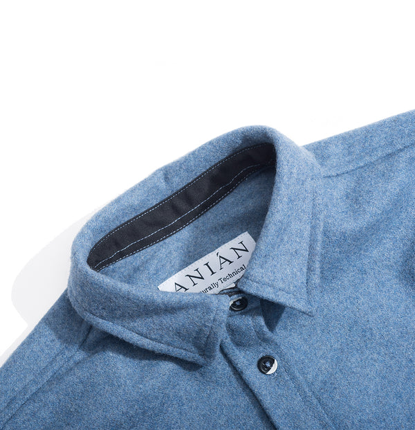 Sky Blue 14oz Modern Melton Wool Shirt