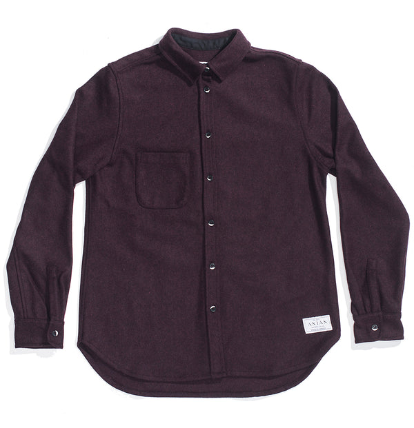 Burgundy 14oz Modern Melton Wool Shirt