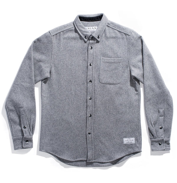 Men's light Grey 14oz Modern Melton Wool Shirt