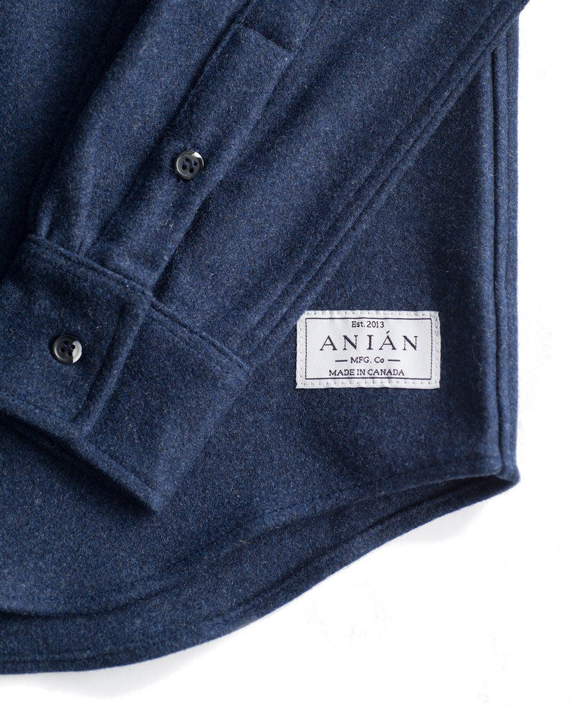 Men's Navy 14oz Modern Melton Wool Shirt