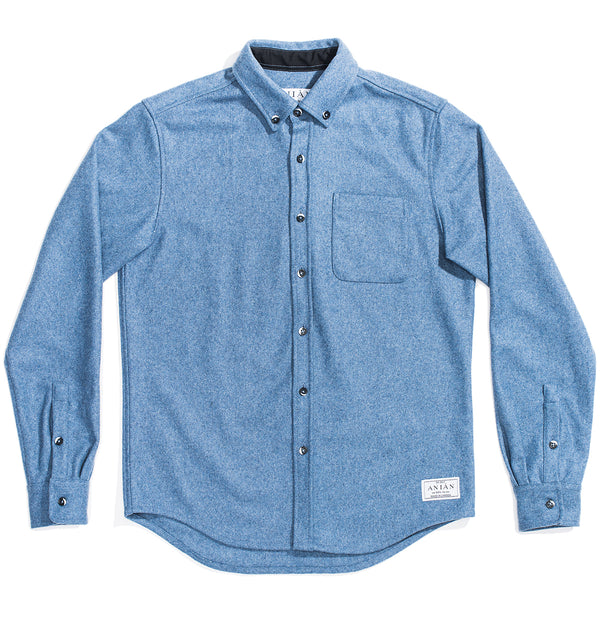 Men's Sky Blue 14oz Modern Melton Wool Shirt