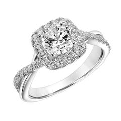 Round Diamond Halo Crossover Shank Engagement Ring