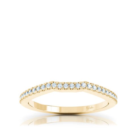 Curved Gold Ring With Diamonds